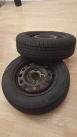 Two tyres 165/65R13 in good condition on steel rims. Cheaply !! 20£