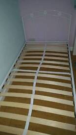 White metal single bed & mattress