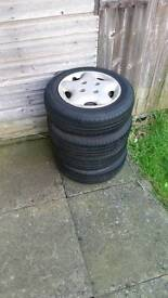 Saxo peugout steel rims with tyers