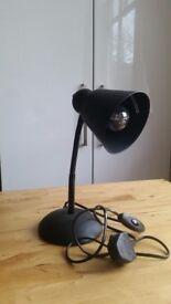 Black desk lamp with bulb