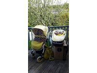 Cosatto Ooba marzipan yellow pushchair pram with NEW carrycot