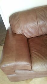 DFS Sofa for sale Leather chocolate brown 3 seater 2 seater and footstool in good condition.