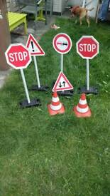 Fun toy road signs and cones