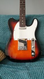 Telecaster shape electric guitar (sunburst) with bag