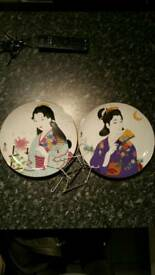 Pair japanese wall plates