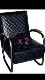 Andrew martin of London ,Cassidy leather chair x2 rrp £2000