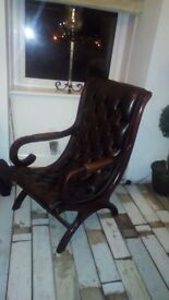 Leather chesterfield slipper chair