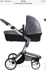 Mima xari cool gray with silver frame, car seat & base for car. Cozy toes