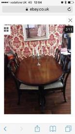 15pc Georgian style furniture dining table, chairs, sideboard, corner unit, coffee table, book shelf