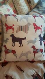 Handmade dog print cushion. Vgc.