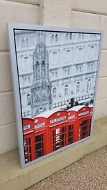 Metal Framed Canvas Print 'Telephone Boxes' in excellent condition