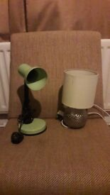 Two small table lamps one green one cream