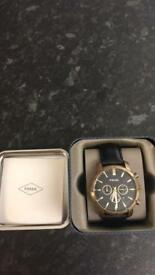 Fossil watch black and gold genuine leather