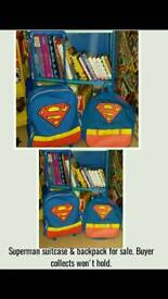 Boys superman suitcase and matching backpack