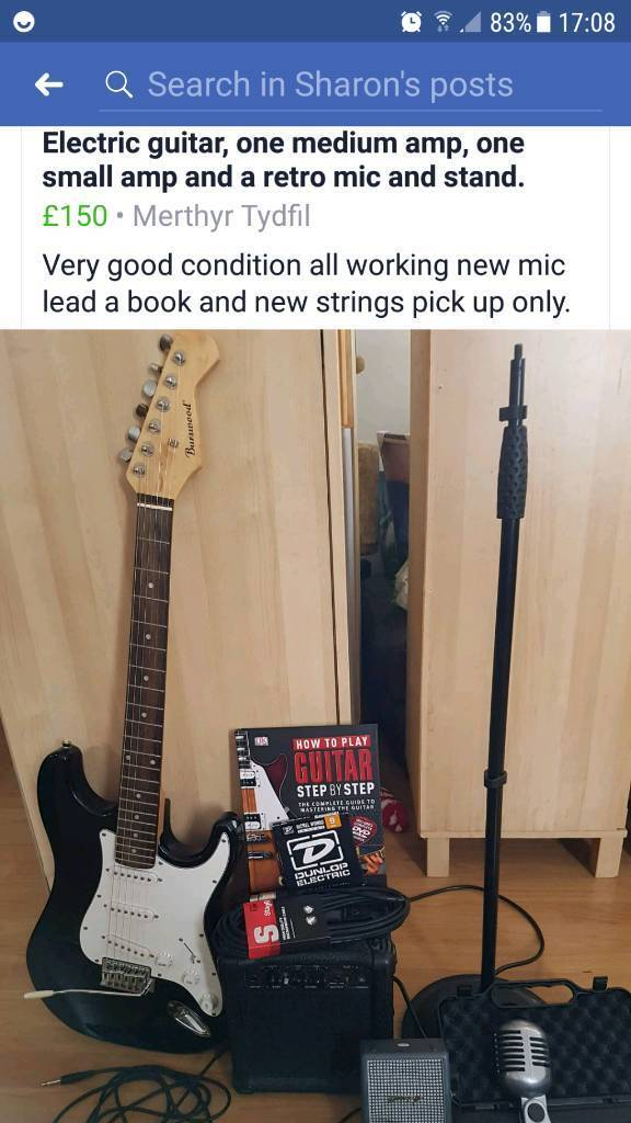 Electric guitar, amp, retro mic and stand