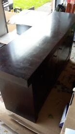 Solid Wooden Sideboard / Living or Dining Room Unit, Modern Style, Dark Colour