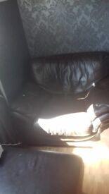 2 choc brown italian leather arm chairs