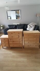 3 sets of light coloured drawers..3drawer 4drawer 5drawer in good condition