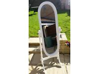 White Wooden Free Standing Full Length Cheval Mirror - Bedroom