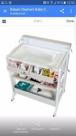 Baby changing table with bath.