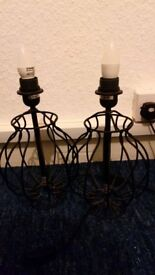 pair of black side lamps / bedside lamps - no lampshades fits normal shades - excellent condition