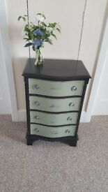 Small bow fronted 4 drawer storage chest finished in Annie Sloan chalk paint