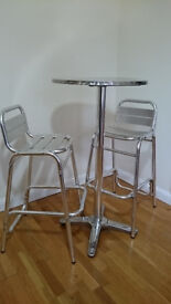 Two Aluminium Stools and One Table; Set of 3 pieces Can be used for Outdoor or Indoor Use
