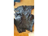 Two parlour tops, two sets waterproof trousers large
