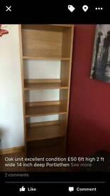 Tall oak bookcase/shelving unit