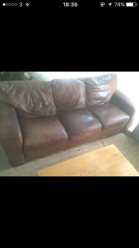 3 seater hand made buffalo leather sofa