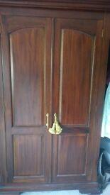 Beautiful handmade Teak wardrobe with 2 matching Side Tables
