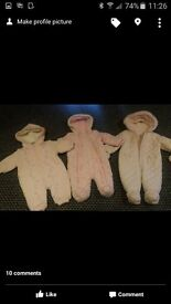 3 baby girl snow suits- x1 3-6 months and x2 0-3 months