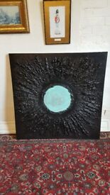 large oil on canvas painting, modern art, signed to the rear
