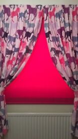 HORSE CURTAINS & GLITTER BLACK OUT ROLLER BLIND