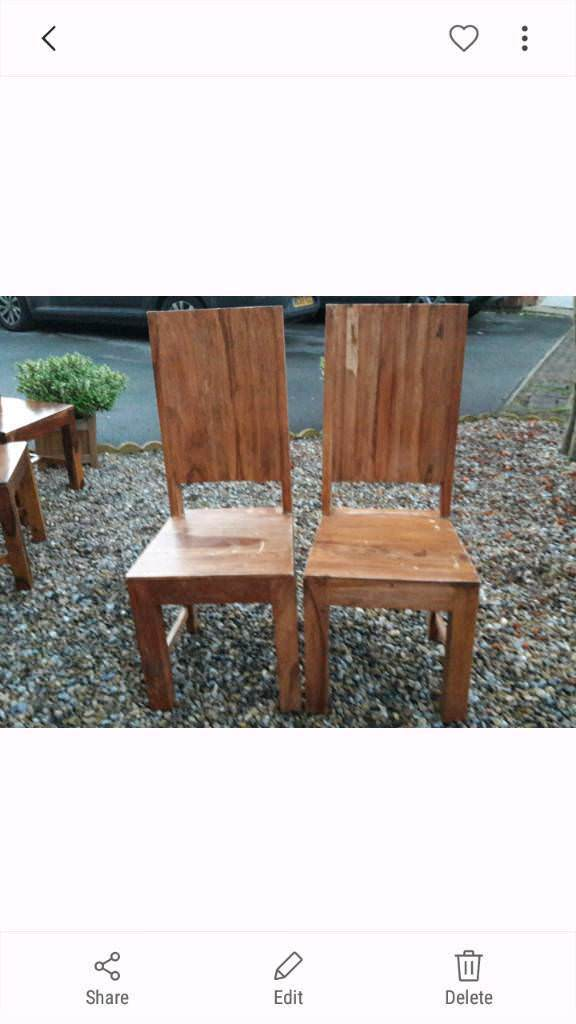 2 x very solid Indian wood chairs