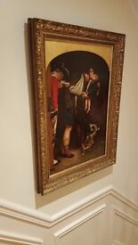 antique oil painting, 19th century, stunning gold frame, signed by listed artist