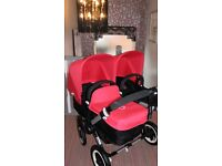 BUGABOO DONKEY DUO 2 HOODS & APRON ONLY IN LIMITED EDITION CORAL RED