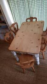 Solid Pine / Painted Farmhouse style table with 6 solid chairs.