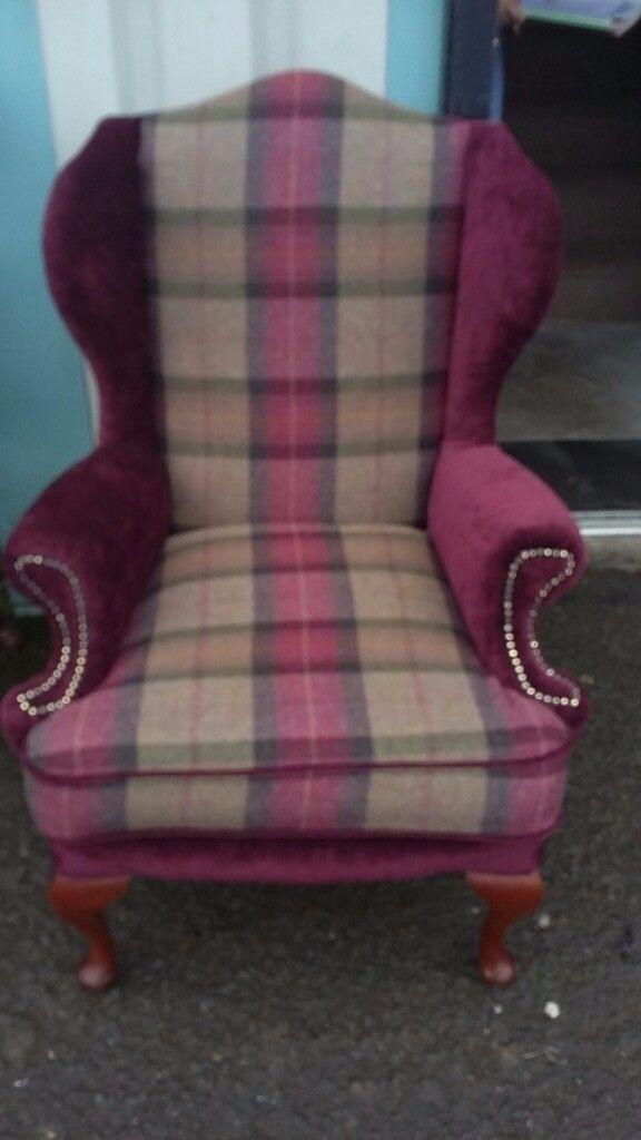 Beautiful Tartan & Plain Wingback Chair. Recently Upholstered.