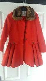 Baby k Myleene Klass orange a faux fur winter coat size 7 to 8
