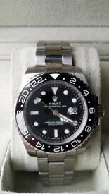 Rolex gmt ii master black face sapphire glass ceramic bezal 2.5x date magnification waterproof