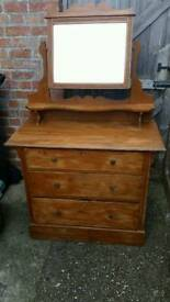 Vintage Old Pine Dressing Table with Mirror
