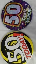50th birthday badges large