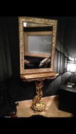 BLACK French Louis rococo shabby chic console table mirror in black Matt