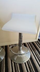 Cream leather and silver chrome kitchen stools
