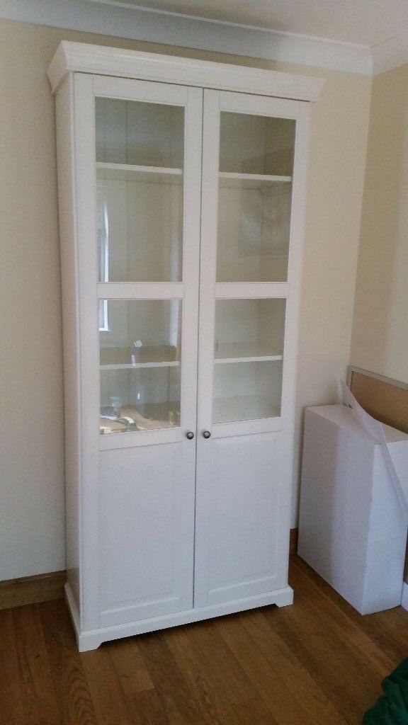 Ikea Liatorp Bookcase With Glass Doors White 96x214 Cm In