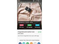 leather look pink mini skirt