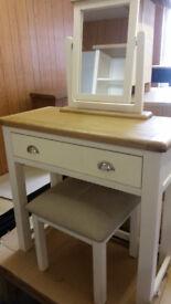 Heart of House Kent Dressing Table, Stool Mirror - Cream Oak