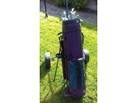 Golf bag, clubs & Trolley