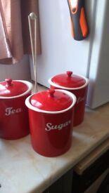 Tea coffee and sugar jars